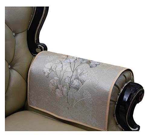 (Sideli Jacquard Coffee Gingko Leaf Armrest Cover for Chair Couch Sofa Loveseat Anti-Slip Furniture Protector Armchair Slipcovers for Recliner Sofa Set of 2(arm Cover- 20