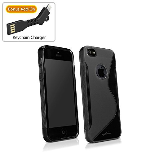 BoxWave Apple iPhone 5s Motif vague TPU en forme sur le dossier-Haute Absorption des chocs (Noir)