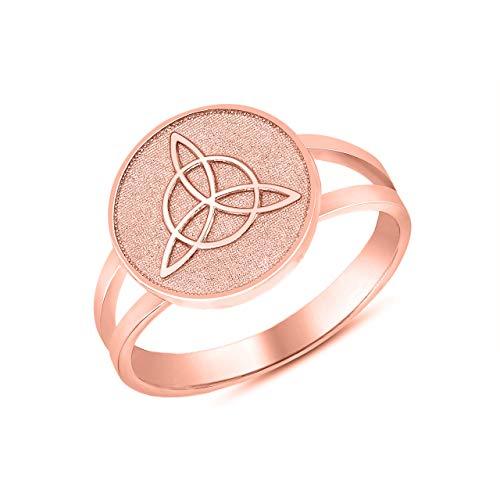 10k Rose Gold Split Shank Band Irish Infinity Circle Celtic Trinity Knot Disc Ring (Size 7)