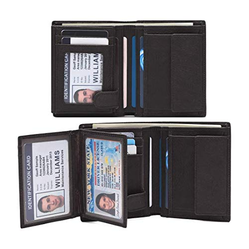 TEEMZONE Mens Leather Wallet Bifold, RFID Blocking Card Wallet with 15 slots & 3 ID Windows & 2 Cash Compartment Near Black Driver License (Best Mens Wallet For Lots Of Cards)