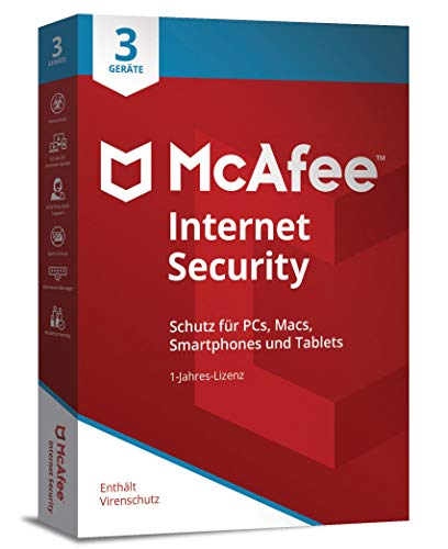 Price comparison product image McAfee Internet Security 3 Device (Code in a Box). Für Windows Vista / 7 / 8 / 8.1 / 10 / MAC / Android / iOs