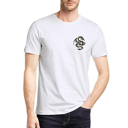 Beautyfine T-Shirts, 2019 Men's Pure Color Dragon Printed Pattern Casual Short Sleeve Shirt White