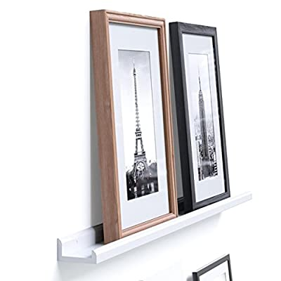 Wallniture Boston Contemporary Floating Wall Shelf - Picture Ledge for Frames Book Display White 46 Inch - Photo Collage: Create a wall collage with your favorite memories, you no longer must spend days or months trying to decorate your walls, these display ledges are perfect for showcasing your memories without misaligned frames and damaged walls. Amazing Offer: This floating photo ledge comes for an unbeatable price. Get this offer while supplies last, you can use it in any room you desire, it is simplistic decoration for your living room, hallway, dining room, etc. Easy Decoration: You've got walls, so utilize them efficiently to decorate your home easily. This bundle offer is great for using staggered on the same wall or in separate rooms, you can decorate multiple spaces with one purchase. - wall-shelves, living-room-furniture, living-room - 412RZYBsA6L. SS400  -