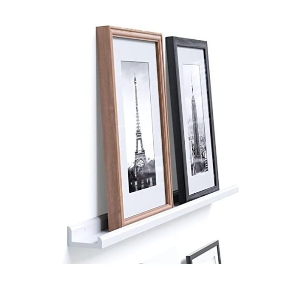 Wallniture Boston Contemporary Floating Wall Shelf - Picture Ledge for Frames Book Display White 46 Inch - Photo Collage: Create a wall collage with your favorite memories, you no longer must spend days or months trying to decorate your walls, these display ledges are perfect for showcasing your memories without misaligned frames and damaged walls. Amazing Offer: This floating photo ledge comes for an unbeatable price. Get this offer while supplies last, you can use it in any room you desire, it is simplistic decoration for your living room, hallway, dining room, etc. Easy Decoration: You've got walls, so utilize them efficiently to decorate your home easily. This bundle offer is great for using staggered on the same wall or in separate rooms, you can decorate multiple spaces with one purchase. - wall-shelves, living-room-furniture, living-room - 412RZYBsA6L. SS570  -