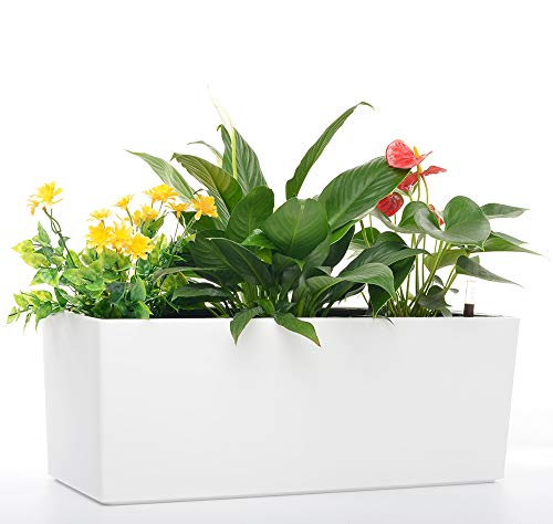 - Rectangle Self Watering Planter Pots 7.5''x 20 Inch with 10 Quarts Coco Soil Indoor Outdoor Home Garden Modern Decorative Planter Pot for All House Plants Flowers Herbs (1, White(7.5''x20''))