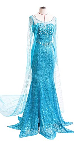 [Lava-ring Mermaid Sweetheart Party Dress Frozen Elsa Cosplay Dress with Outer Yarn] (Elsa Dress Women)