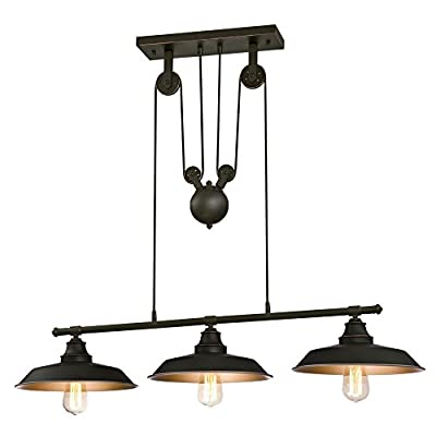 Westinghouse Iron Hill Light Indoor Island Pulley Pendant, Oil Rubbed Finish with Highlights and Metallic Bronze Interior