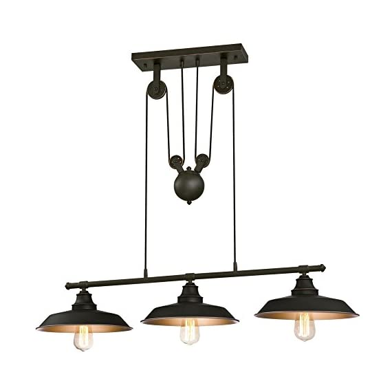Westinghouse Lighting 6332500 Iron Hill Three-Light Indoor Island Pulley Pendant, Oil Rubbed Finish with Highlights and Metallic Bronze Interior, 3 - Three-light indoor island Pendant with vintage-industrial details adds unique appeal 31-15/16 inches in height, 39-15/16 inches in Width, 12 inches in depth, 58-15/16 inches maximum hanging length, 31-15/16 inches minimum hanging length Uses three 60-watt medium-base light bulbs (not included), for a vintage appeal use Westinghouse filament LED light bulbs. Recommended Uses- Impressive down lighting for over a kitchen island, breakfast bar, pool table or dining room. Ideal for a range of architectural home styles and decor's, including art deco, arts & crafts, bungalow, craftsman, and modern - kitchen-dining-room-decor, kitchen-dining-room, chandeliers-lighting - 412Ra0KzLUL. SS570  -