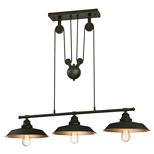 Iron Bar Table Base - Westinghouse 6332500 Iron Hill Three-Light Indoor Island Pulley Pendant, Oil Rubbed Finish with Highlights and Metallic Bronze Interior