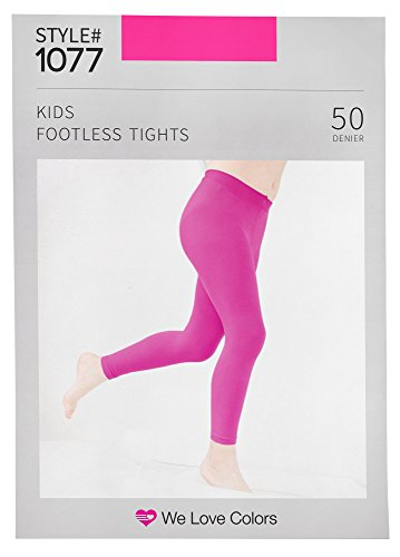 Footless Bright Tights (Soft and Opaque Kids Microfiber Footless Tights - 30 Colors to choose! - We Love Colors - Ages 6 months - 14 Years)