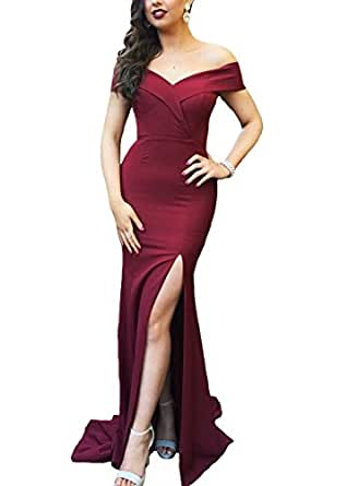 Gralre Women's Sweetheart Off Shoulder Mermiad Spilt Prom Dresses Formal Evening Gowns Long Burgundy US16