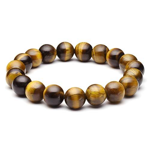 Top Plaza Mens Womens Natural Gemstone Round Beads Healing Crystals Reiki Chakra Balancing Stretch Bracelets(Tiger Eye Stone)