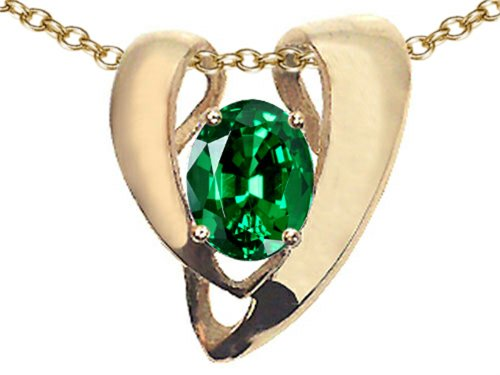 Tommaso Design Oval 9x7mm Simulated Emerald Heart Shaped Pendant Necklace Enhancer 14 kt Yellow Gold (Emerald Heart Shaped Pendant)