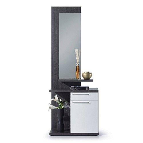 Habitdesign Recibidor con Espejo, Mueble de Entrada, Acabado en Color Blanco Brillo y Gris Ceniza, Medidas 186 cm (Alto) x 61 cm (Ancho) x 29 cm (Fondo)