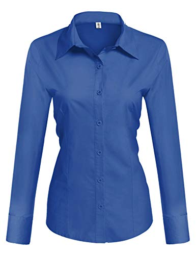 Hotouch Ladies' Classic Wrinkle-Free Long Sleeve Oxford Shirt Royal Blue X-Large ()