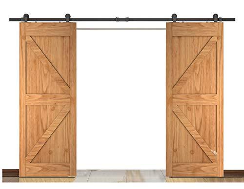 Sliding Panel Top (DIYHD 10FT Top Mount Double Sliding Barn Wood Door Interior Closet Door Sliding Door Track Hardware for 2 Door)