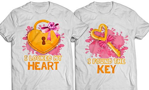 I-Locked-My-Heart/I-Found-Key Key-Lock Watercolor-Pink-Heart Matching-Couple Happy-Valentine's-Day T-shirt Customized Handmade Hoodie/Sweater/Long Sleeve/Tank Top/Premium -
