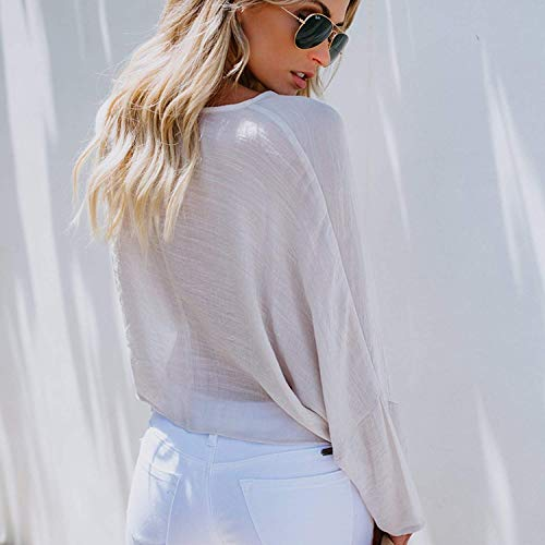 Beige Donna T Girocollo Lunga Camicia Tomwell Chemisier Top Casuale Elegante Blusa Blusa Manica Shirt Elegante dPnwq6AqU
