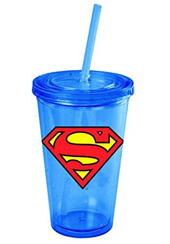 Superman Logo Classic Acrylic Tumbler: 16 oz Portable Beverage Container