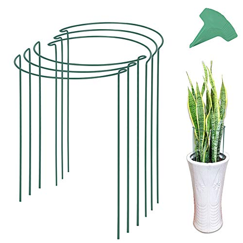 GROWNEER 6 Packs 15.7 Inches Half Round Garden Plant Support Ring with 15 Pcs Plant Labels, Metal Garden Border Supports for Tomato, Rose, Vine, Climbing Plants