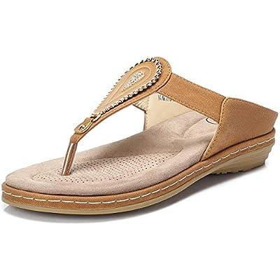 CAMEL CROWN Women's Flip Flops Thong Sandals Comfortable Slip On Flat Sandals with Teardrop Rhinestones Summer Beach T Strap Embellishes Sandals