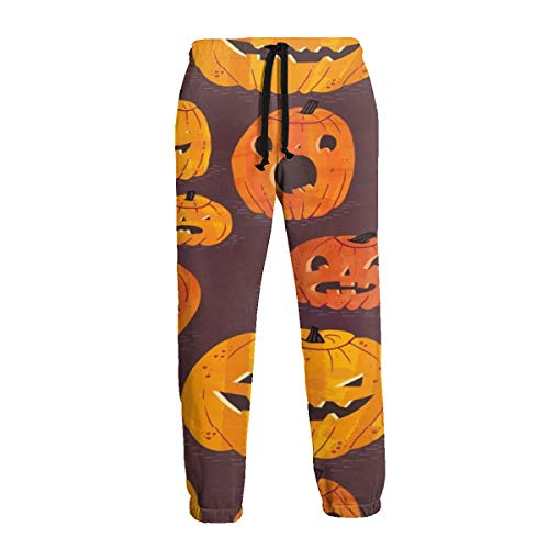 Pfgvh-1 Halloween Pumpkins Men's Sweatpants with Pockets Open Bottom Athletic Pants for Jogging, Workout, Gym, Running, -