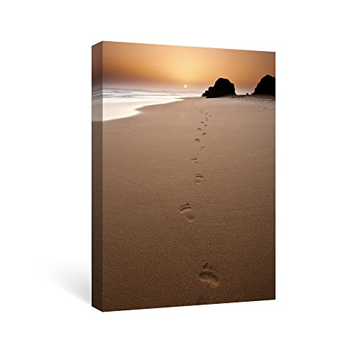 SUMGAR footprints in the sand wall art Seascape Canvas for Living Room Brown Beach Artworks Stretched on Wooden, (Footprints Canvas)