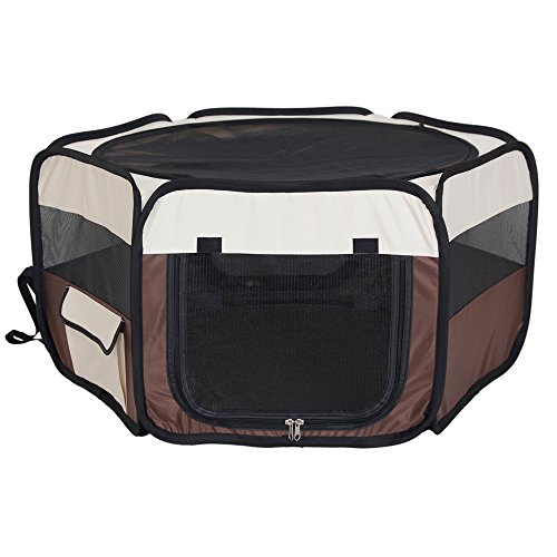 Premium Soft Pet Playpen-Fortable and Portable Exercise Kennel/Washable Pet Tent/Water-Resistant Dog House with Removable Shade Cover for Cat, Rabbit and Small Size Animal Playing
