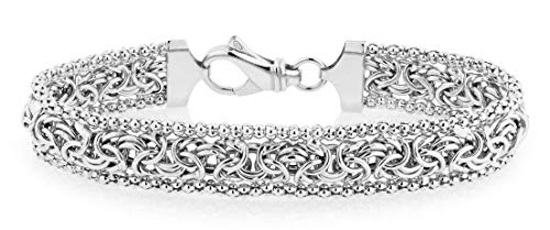 MiaBella Sterling Silver Italian Byzantine Beaded Mesh Link Chain Bracelet for Women, 7