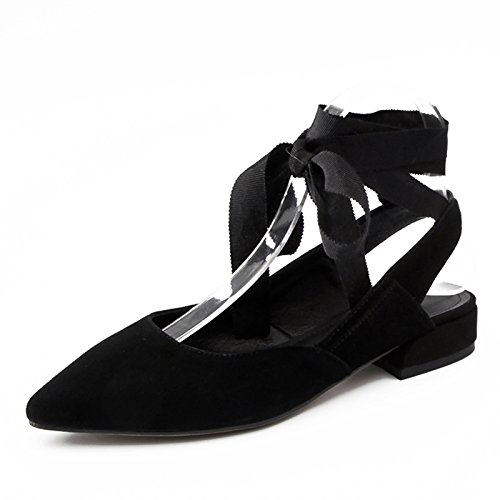 GAOLIM Amarrar Los Zapatos De Ballet Mujer Muelle Plano Punta Que Zapatos Cómodos Zapatos De Mujer Zapatos Bajos Con Una Sola Negro