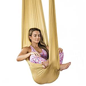 HEALTHYMODELLIFE Healthy Model Life Silk Aerial Yoga Swing & Hammock Kit for Improved Yoga Inversions, Flexibility & Core Strength