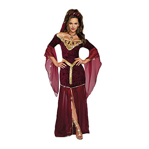Sexy Medieval Costumes - Dreamgirl Women's Medieval Enchantress Royal Maiden Costume, Burgundy, Small