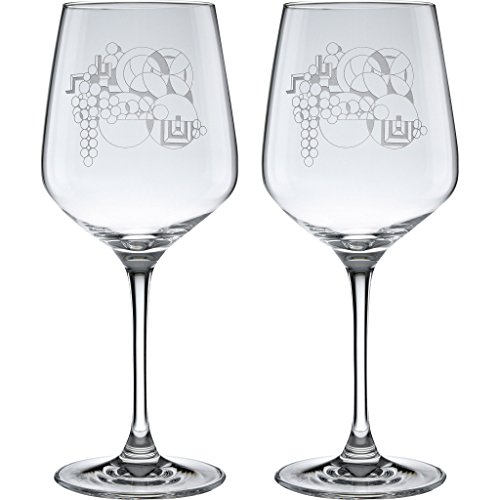 Frank Lloyd Wright May Basket Deep Etched Wine Glass 17.25-Ounce Set of 2 ()