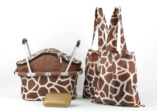 Sachi Collapsible Insulated Picnic Basket w/ Accessories in Giraffe Print