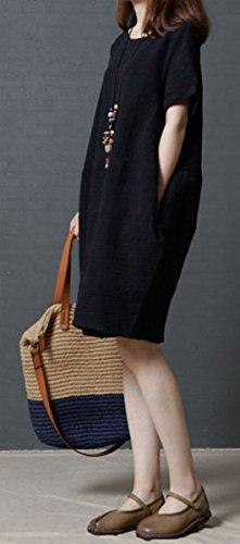 Taille Grande Coton Rond Robe Noir BLACKMYTH Unie Court Couleur Lin Femme Col qHtxIF