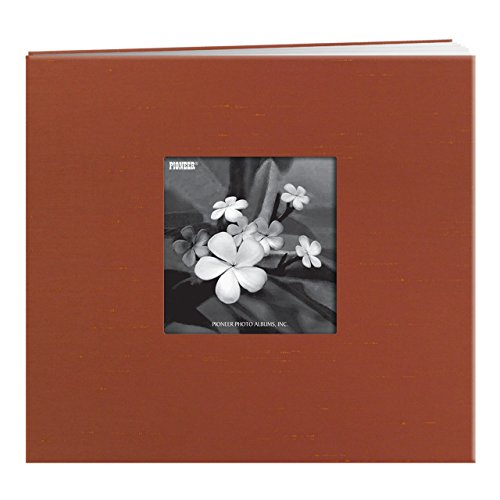 Pioneer 8 Inch by 8 Inch Postbound Silk Fabric Frame Cover Memory Book, Copper