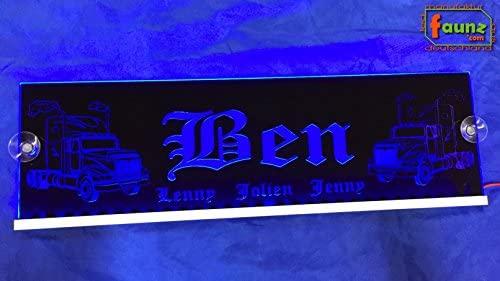 BEN + niños azul LED Camiones Truck Cartel grande en Negro o ...