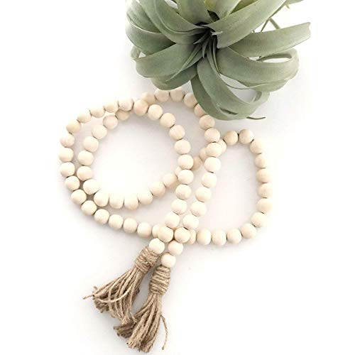 LSKY Wood Bead Garland Rustic Tassels Farmhouse Beads for Farmhouse Wall Hanging Decor (1 ()