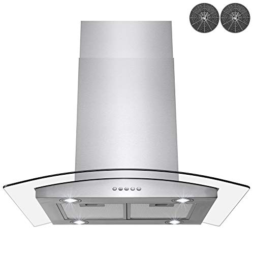 "AKDY 30"" Stainless Steel Island Mount Range Hood With Tempered Glass, Push Button Control and Carbon Filters"