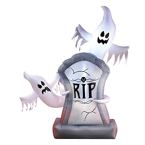 Collections Etc Inflatable, Lighted, Halloween Ghosts and Tombstone Décor - Over 5 Ft Tall by Collections Etc
