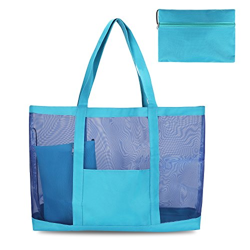 G4Free 25L+ Oversize Top Portable Mesh Beach Tote Bag, Foldable Gym Grocery Picnic Utility Bag Travel Shoulder Bag with Small Storage Purse Bag for Pool,Boat