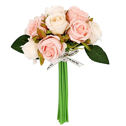(LSME 12 Heads Silk Artificial Rose Flowers Hand Tied Bouquet DIY Wedding Bridal Bouquet)