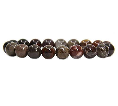 Amandastone Natural Petrified Wood Fossil Genuine Semi-Precious Gemstones Healing 10mm Beaded Stretch Bracelet 7