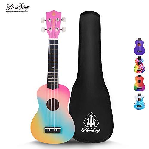 Honsing Kids Ukulele,Soprano Ukulele Beginner,Hawaii kids Guitar Uke Basswood 21 inches with Gig Bag- Rainbow Stripes Color matte finish