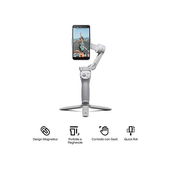 DJI OM 4 - Stabilizzatore a 3 Assi per Smartphone, Design Magnetico, Portatile e Pieghevole, DynamicZoom, CloneMe, Timelapse, Controllo con Gesti, Modalità Spin, Modalità Story, Slow Motion, Panorama 2 spesavip
