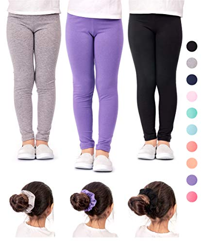 DEAR SPARKLE Girls Leggings 3 Pack Cotton Solid Colors + Matching Elastic Hair Ties | Sizes 3-10 (6-7, Black/Grey/Lilac) -