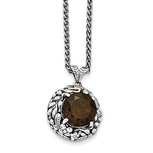 (Sterling Silver With 14k Smokey Quartz Necklace)
