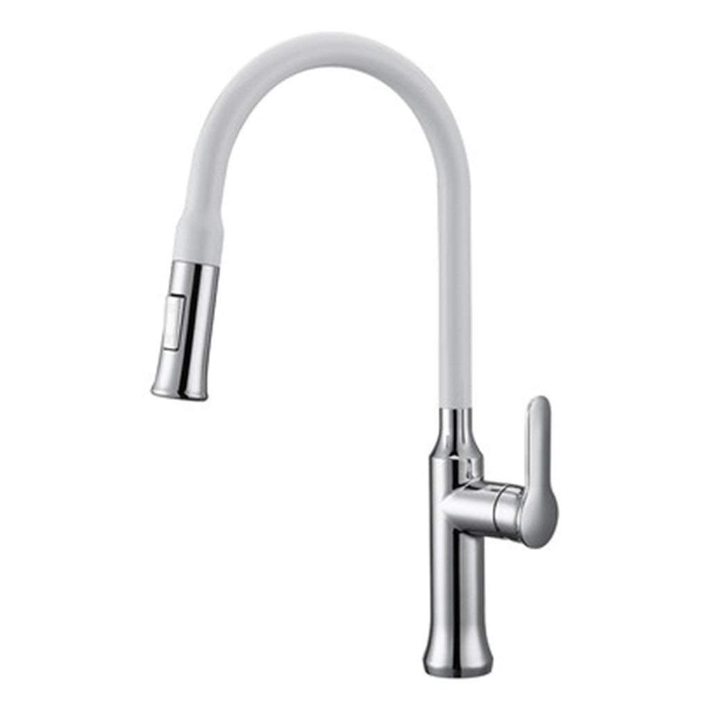 Kitchen Sink Faucets Pumping Hot And Cold Drawing Sink Faucet Telescopic Rotating Sink Faucet Kitchen Multi-function Faucet (Color : White, Size : 48.227.55cm)