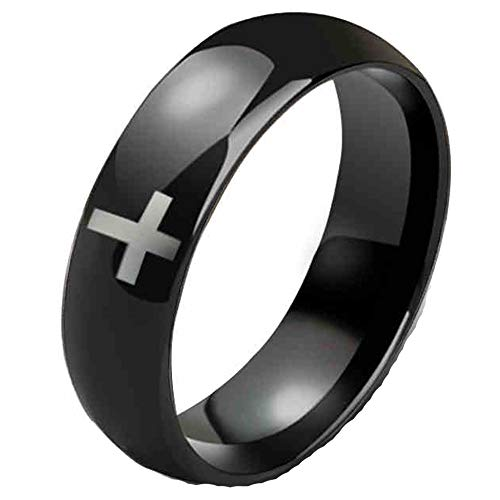 Mens Womens 8mm Tungsten Carbide White Cross Ring Wedding Engagement Black Domed Band for Him Her Smooth Size 13