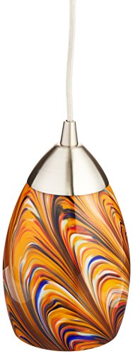 4in Pendant (Elk 10089/1RV-LED Mini Vortex 1-LED Light Pendant with Rainbow Glass Shade, 4 by 7-Inch, Satin Nickel Finish)